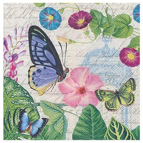"""Papierserviette """"Blüten und Schmetterlinge"""", 33 x 33 cm, 20 Stück"""