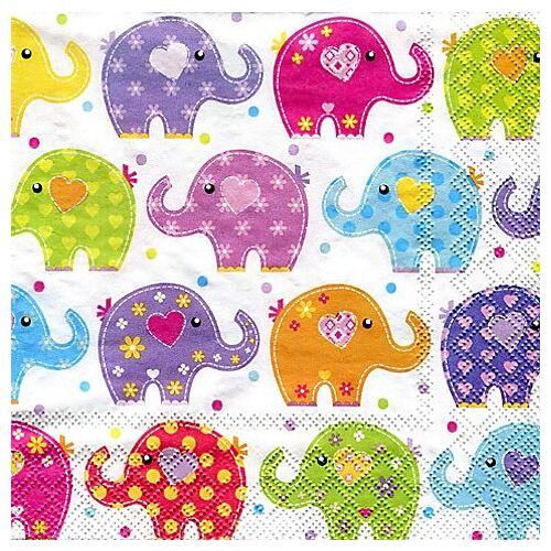 """Papierservietten """"Elefanten"""", 33 x 33 cm, 20 Stück"""