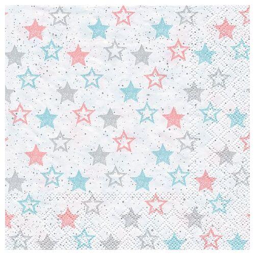 "Papierservietten ""Sterne türkis/rosa"", 33 x 33 cm, 20 Stück"
