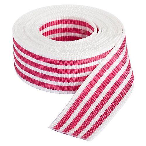 """buttinette Taschengurtband """"Streifen"""", weiß-pink, Breite: 4 cm, Länge: 3 m"""