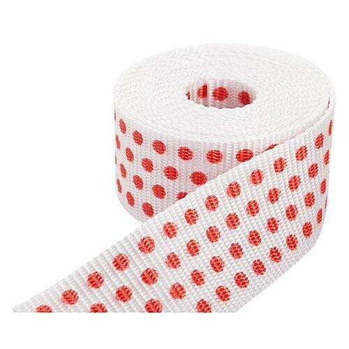 """buttinette Taschengurtband """"Punkte"""", weiß-rot, 4 cm, Länge: 3 m"""