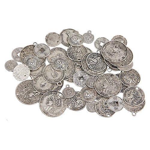 Münzen, silber, 10–20 mm, 60 Stück