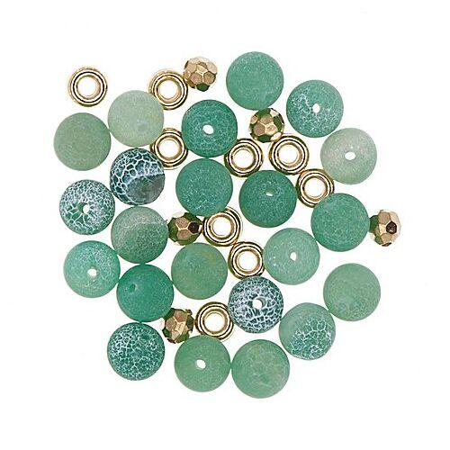 Natursteinperlen, grün, 8 mm Ø, 35 Teile