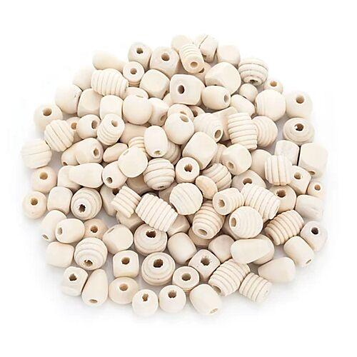 Holzperlen-Mix, natur, 5–20 mm, 500 g