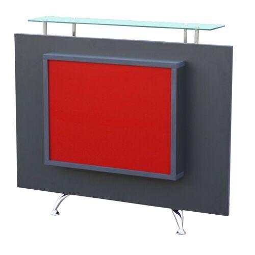 FIGARO 1462 Rezeption Korpus schwarz Frontplatte anthrazit, Acrylplatte rot mit LED-Bac