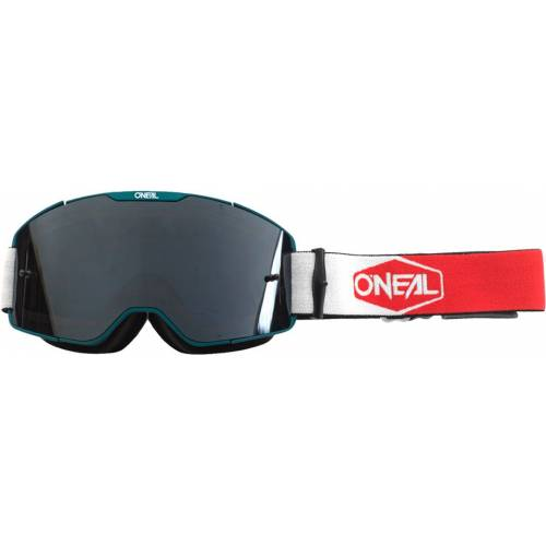 Oneal B-20 Plain Motocross Brille Weiss Rot