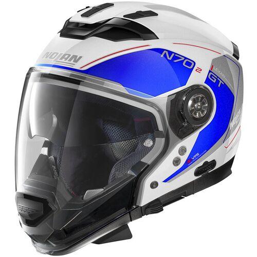 Nolan N70-2 GT Lakota N-Com Helm Weiss Blau S