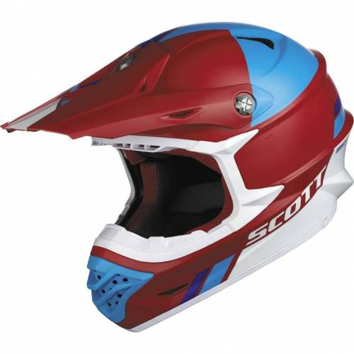 Scott 350 Pro Trophy Crosshelm Rot Blau 2XL