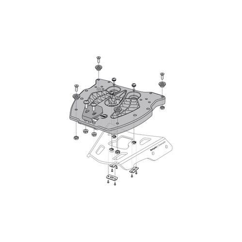 SW-Motech Adapterplatte für ALU-RACK Gepäckträger - Für TRAX Topcase. Schwarz. Schwarz