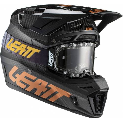 Leatt Moto 9.5 V21.1 Carbon Motocross Helm mit Brille Carbon L