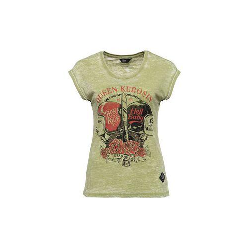 King Kerosin Queen Kerosin Hell Baby Damen T-Shirt grün L