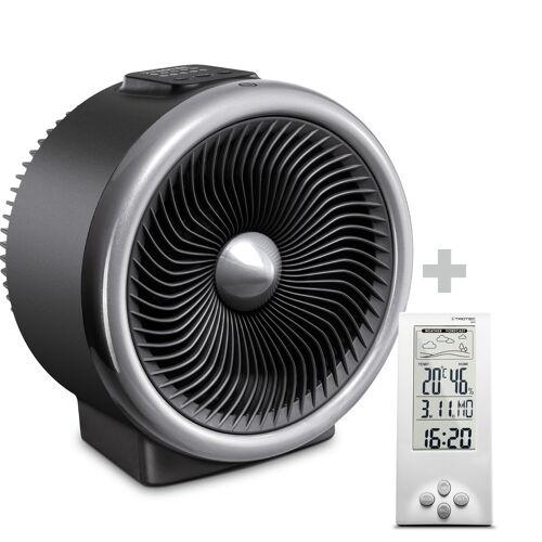Trotec 2-in-1 Heizlüfter, Ventilator TFH 2000 E + Design-Wetterstation BZ06