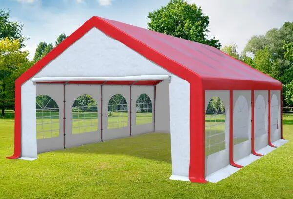 Stabilezelte Partyzelt Festzelt 5x8m Modular Pro PVC wasserdicht rot /weiß