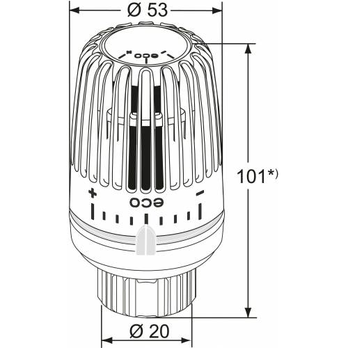 Heimeier Thermostat-Kopf 9710-43.500 weiß, mit Klemmverbindung, Direktanschluss VHK