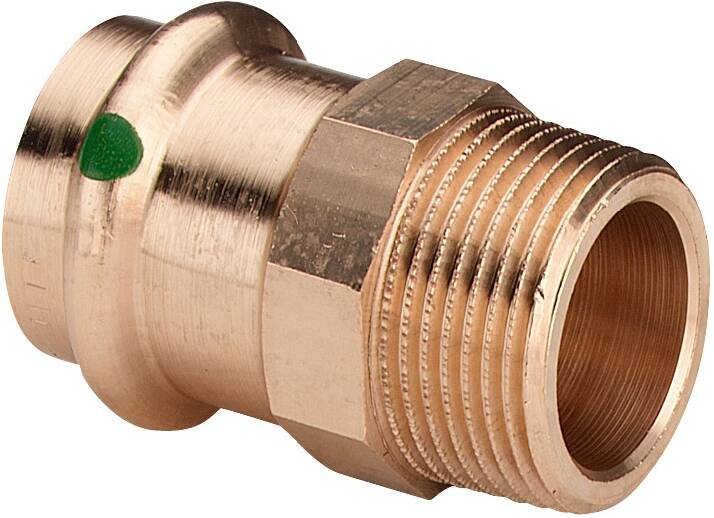 Viega Übergangsstück Sanpress 2211 22 mm x R 3/4, Rotguss oder Siliziumbronze, SC-Contur, Mehrkant