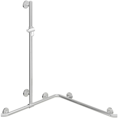 Hewi Warm Touch Duschhandlauf 950.35.32054 anthrazitgrau, 1250 x 762 x 762 mm, mit verschiebbarer Brausestange