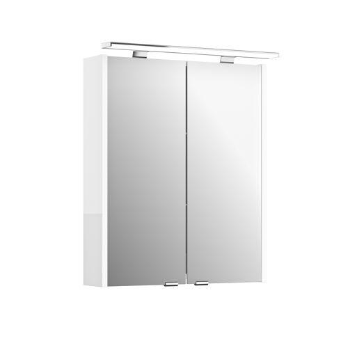 Artiqua Spiegelschrank 812E4560 600mm, weiß glanz, 2 Türen, LED Aufsatzleuchte