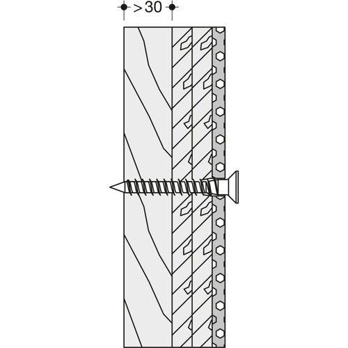 Hewi 801/805 Klappsitz-Befestigung BM22.4 Leichtbauwände mit Hinterfütterung aus Schichtholz