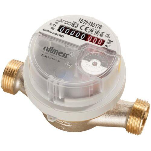Allmess Aufputzwasserzähler 6EKB15110B40NBA EVK 3/110V, Q3 2,5, DN 15, 110mm, TU6+m