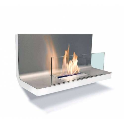 Radius Design Wall Flame 1 Ethanol Kamin Gestell weiß, Edelstahlplatte matt