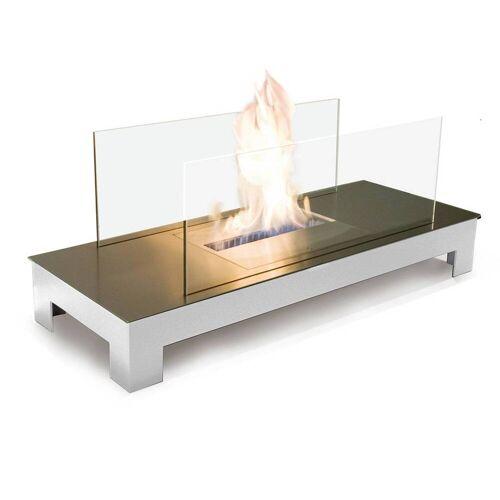 Radius Design Floor Flame Ethanol Kamin Gestell weiß, Edelstahlplatte matt