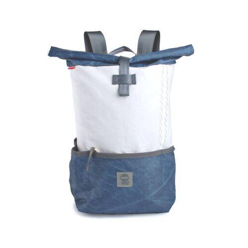360° Taschen 360° Lotse Segeltuchrucksack weiß / blau