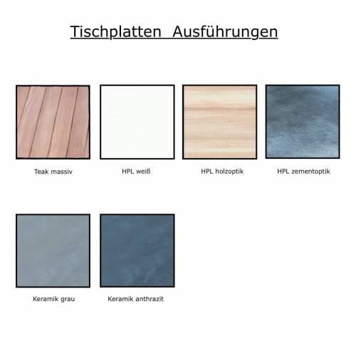Jan Kurtz Quadrat Tisch 90 x 60cm HPL Zementoptik weiß