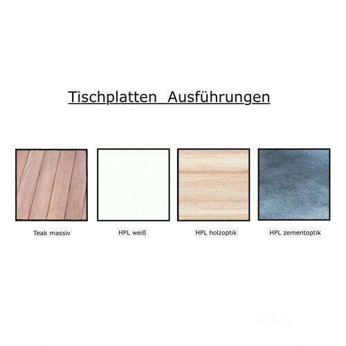 Jan Kurtz Quadrat Tisch 120 x 120cm HPL Holzoptik weiß