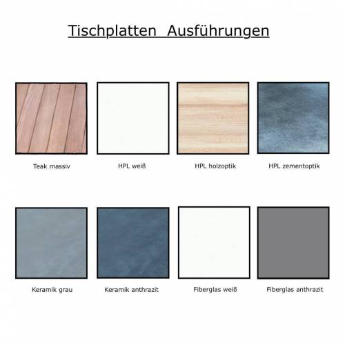 Jan Kurtz Quadrat Tisch 80 x 50cm HPL Zementoptik weiß