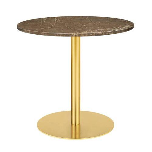 Gubi Table 1.0 Esstisch rund Ø 80cm Marmor braun messing