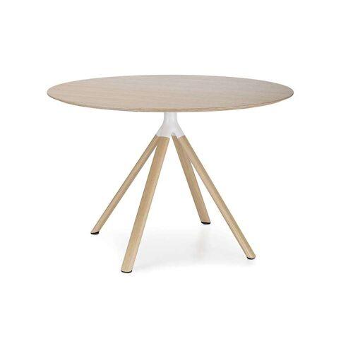 Lapalma Fork Tisch 74cm Ø 90cm weiß lackiert / Eiche gebleicht Eiche gebleicht