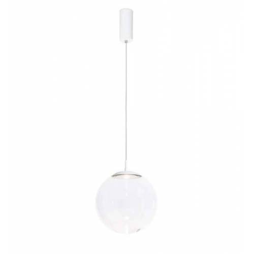 Mawa Design Glaskugelleuchte LED Pendelleuchte weiß matt (RAL 9016) Kristallglas dimmbar über 1-10V