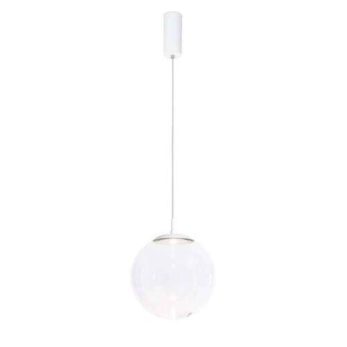 Mawa Design Glaskugelleuchte LED Pendelleuchte weiß matt (RAL 9016) Kristallglas dimmbar über DALI