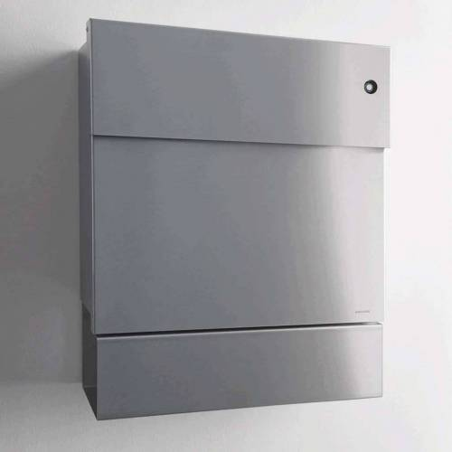 Radius Design Letterman 5 Briefkasten Edelstahl mit Klingel in rot ohne Pfosten