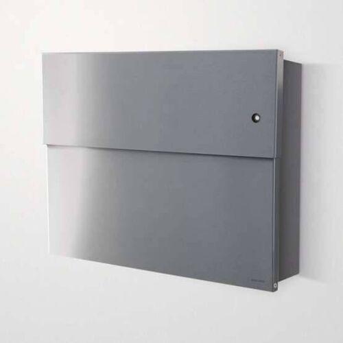 Radius Design Letterman XXL 2 Briefkasten Edelstahl mit Klingel in rot ohne Pfosten