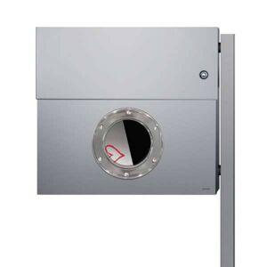 Radius Design Letterman XXL Briefkasten silber-grau matt (RAL 9006) mit Klingel in blau ohne Pfosten