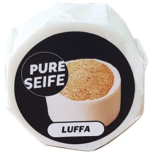 Pure Seife mit Luffaschwamm