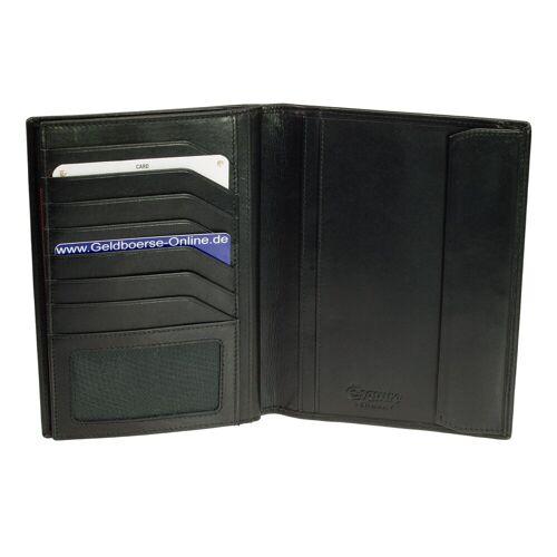 Esquire New Silk große Brieftasche Reisebrieftasche Kartenetui Schwarz Leder