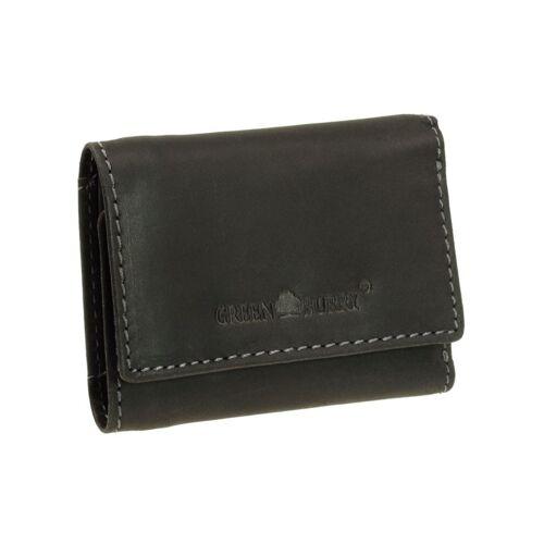 Greenburry Leder Mini-Geldbörse 1793-BL-20 Schwarz, kleiner Geldbeutel