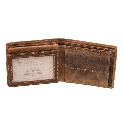 Greenburry Vintage Leder Geldbörse 1676-25 Geldbeutel Portemonnaie Braun