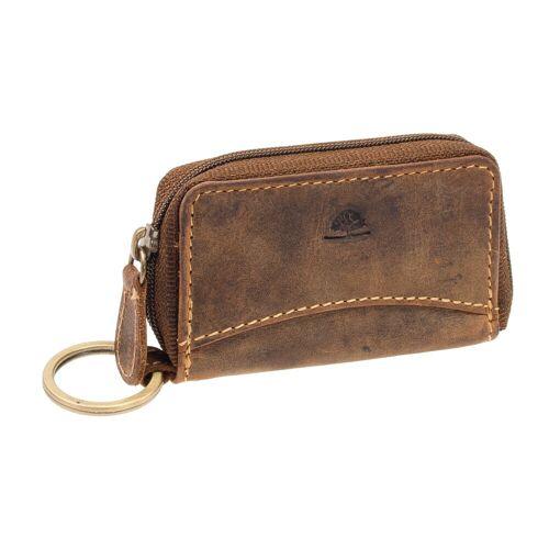 Greenburry Vintage Reißverschluss Schlüsselmäppchen Leder Braun Schlüsseletui