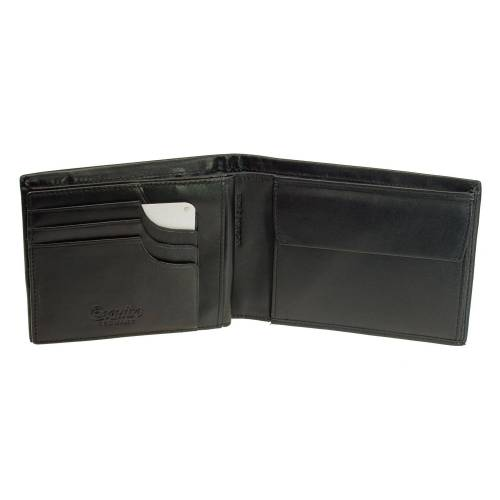 Esquire Geldbeutel mit Card-Safe Esquire New Silk Schwarz Portemonnaie Leder Geldbeutel