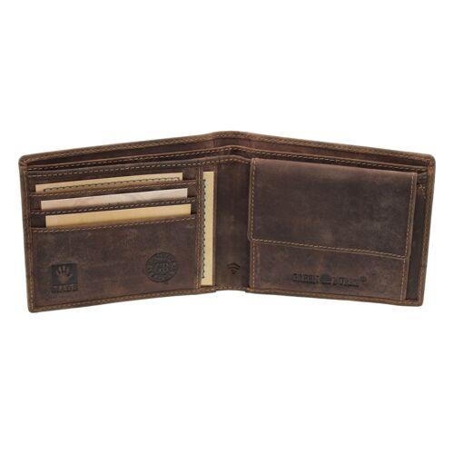 Greenburry Vintage Leder schlanke Geldbörse RFID Schutz Braun Geldbeutel
