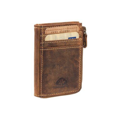 Greenburry Vintage Leder Minigeldbörse kleine Geldbörse Geldbeutel Braun