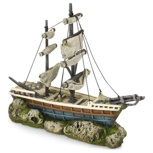 Aqua Della Aquariumdekoration Schiff mit Segeln
