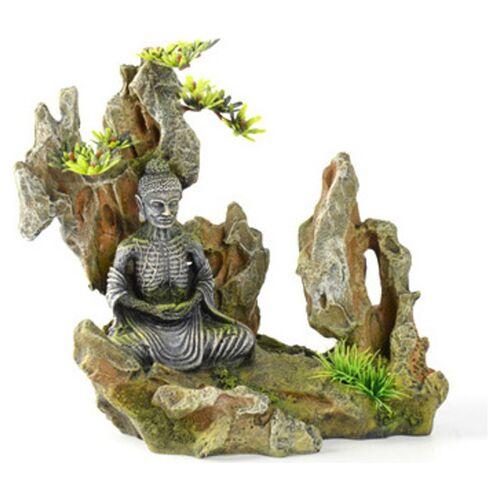 Aqua Della Aquariumdekoration Buddha auf einem Felsen