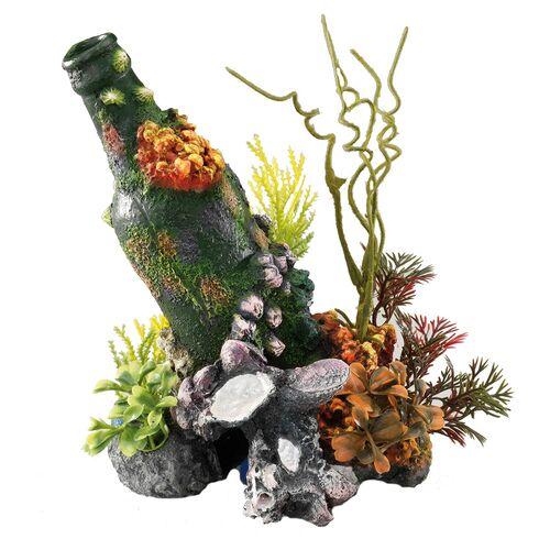 Aqua Della Aquariumdekoration Flasche mit Korallen