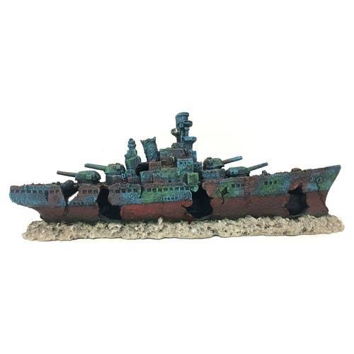 Aqua Della Aquariumdekoration Kriegsschiff, Maße: 47,5 x 9,5 x 17 cm