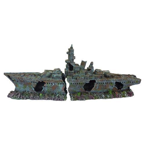 Aqua Della Aquariumdekoration Kriegsschiff, Maße: 68 x 15,2 x 27 cm