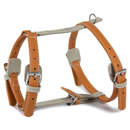 Das Lederband Geschirr Amsterdam Orange/Grey, Halsumfang: 35-55 cm